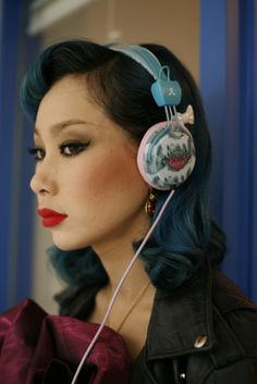 Gorgeous wavy blue and black hair.    Mademoiselle Yulia wearing her headphones for WeSC