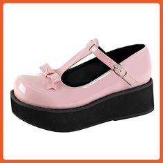 Womens T Strap Shoes Baby Pink Platforms Bow Buckle Strap 2 1/4 Inch  Platform