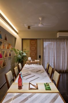 OWN HOUSE – Aangan Architects Dining Room Wall Decor, Dining Room Design, Dining Area, Home Design Floor Plans, Home Room Design, House Design, Ethnic Home Decor, Indian Home Decor, Indian Home Interior