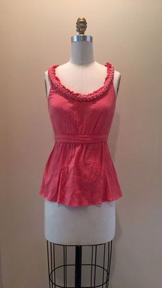 Anthropologie Floreat Blouse Top Tank Coral Pink Knotted Detail size XS #Floreat #TankCami
