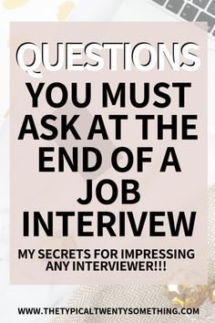Here are the best questions to ask during a job interview. Asking questions at the end of a job interview is so important, here is a list to get you hired. Management Interview Questions, Job Interview Preparation, Interview Answers, Fun Questions To Ask, Interview Questions And Answers, Job Interview Tips, This Or That Questions, Management Tips, Job Interviews