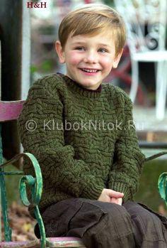 Зеленый пуловер для мальчика   Вязание для детей   Вязание спицами и крючком. Схемы вязания.