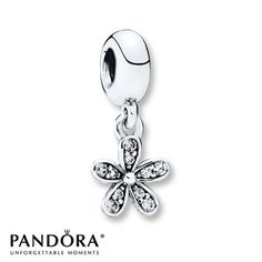 Clear cubic zirconias add sparkle to each petal of a dangling daisy in this sterling silver charm from the PANDORA Spring 2015 collection. Pandora Bracelet Charms, Pandora Jewelry, Charm Bracelets, Silver Bracelets, Silver Earrings, Sterling Silver Jewelry, Silver Ring, Silver Charms, Jewelry Stores