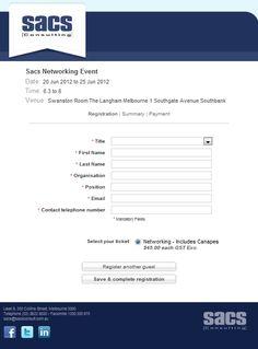 Registration Form Design for Sacs Consulting