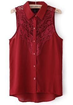 Red Plain Lace Lapel Sleeveless Chiffon Blouse