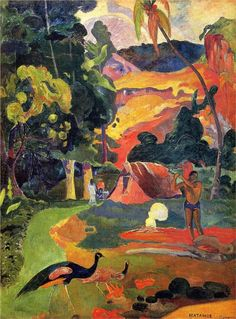"Cheery & colorful art for the walls.  Landscape with peacocks, 1892  Paul Gauguin. Puskin Museum, Moscow. (24"" x 32"" print is $70)"
