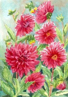 Zeh Original Art Blog Watercolor and Oil Paintings: Pink Dahlias - Watercolor Painting