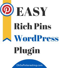 Is your blog on WordPress? Check out these Rich Pin plugins to make submitting Rich Pin data easier.