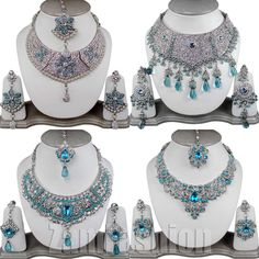 Wedding Party Kundan 4 Jewellery Sets Silver Tone SDT1S4 Turquoise Lot