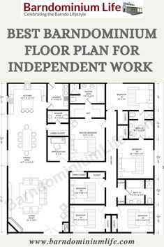 This floor plan is a suitable choice for families engaged in lots of independent work or study, and its location just off the main hallway means plenty of quiet when utilizing its late nights. It also includes a large linen closet just down the hall right off the powder room, which offers ample room for storing lots of fresh, clean linens for your large family and guests. Explore these amazing design at: BarndominiumLife.com House Layout Plans, New House Plans, Dream House Plans, House Layouts, House Floor Plans, Metal House Plans, Loft Floor Plans, Pole Barn House Plans, Pole Barn Homes