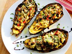 stuffed eggplant with ricotta,spinach, and artichoke