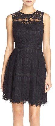 Shop Now - >  https://api.shopstyle.com/action/apiVisitRetailer?id=484142864&pid=uid6996-25233114-59 Women's Adelyn Rae Illusion Yoke Lace Fit & Flare Dress  ...