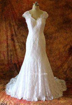 V-neck Mermaid Lace Wedding Dresses with Beading Custom-made Bridal Dr – kelendress