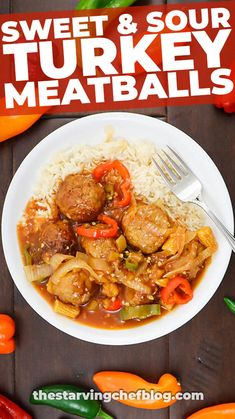 Sweet & Sour Turkey Meatballs | The Starving Chef Blog Healthy Recipes On A Budget, Easy Dinner Recipes, Easy Meals, Chef Blog, Turkey Meatballs, Roast Beef Roll Ups, Whole Turkey Recipes, French Fried Onions, Panko Bread Crumbs