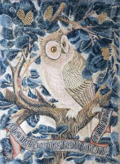 Owl embroidered panel c1914. George Jack, a freelance furniture designer, worked for Morris and Co while furthering his career as an architect. His versatility and range are typical of the best aspects of the Arts & Crafts Movement.