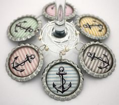Preppy anchor wine charms beach party favors delta gamma drink tags. on Etsy, $18.00