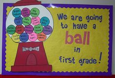 Back to school bulletin board ... Do it with  each balls for my beach/ocean theme