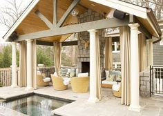 cabana with fireplace | Pin of the Week: Poolside cabana with fireplace | Tropic Home