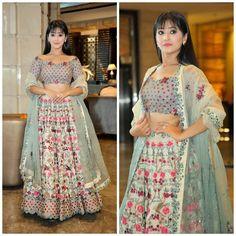 When Shivangi Joshi outclassed the off-shoulder fashion Lehenga Choli Designs, Indian Wedding Outfits, Indian Outfits, Indian Designer Outfits, Designer Dresses, Girl Fashion, Fashion Dresses, Lehnga Dress, Off Shoulder Fashion