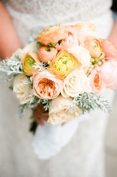 #ranunculus, #bouquet, #rose  Photography: Lauren Kinsey Fine Art Wedding Photography - www.laurenkinsey.com  Read More: http://www.stylemepretty.com/2013/09/27/alys-beach-florida-wedding-from-lauren-kinsey/