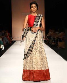 #Exclusivelyin, #IndianEthnicWear, #IndianWear, #Fashion, Jahan Red Choli With Gold Banarsi Anarkali Lehnga