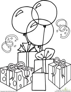 Its party time with this birthday coloring page, which features birthday balloons and gifts! Bring out your crayons and get the celebration started. Doodle Coloring, Coloring Pages For Kids, Mandala Coloring, Coloring Book Pages, Coloring Sheets, Happy Birthday Coloring Pages, Kirigami, Birthday Balloons, Copics
