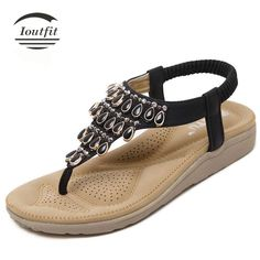 Ioutfit Fashion NEW Elegant Bohemia Flat Thong Shoes Gladiator Sandals Women Flip Flops Plus Size 225-250mm