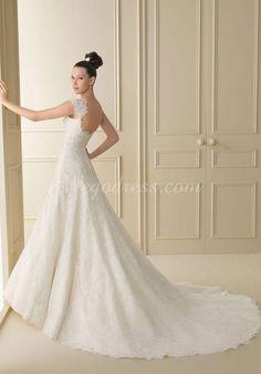 A-line Long Buttons Chapel Train Lace Simple Wedding Dress