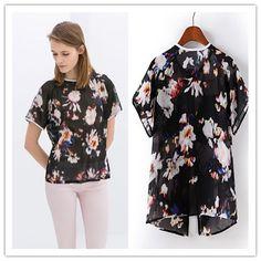 2014 Spring/Summer women blousesWomen New Brief Short Sleeve Tops Floral Print Patterned Short Sleeve Blouse Shirt US $9.35