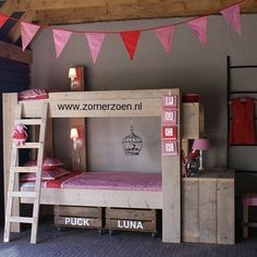 Lovely rustic modern bunks - love the crate storage!