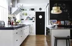Simple Scandinavian-style Interior Design Ideas To Inspire You : Beautiful Scandinavian Galley Style Kitchen Interior With Black And White Color Scheme Also Wooden Floor Also Black Bar Stools Along With White Kitchen Cabinets Home Kitchens, Home Interior Design, Scandinavian Interior Design, Interior Design Kitchen, Interior Design Styles, House Interior, Kitchen Styling, Scandinavian Kitchen Design, Scandinavian Interior Kitchen