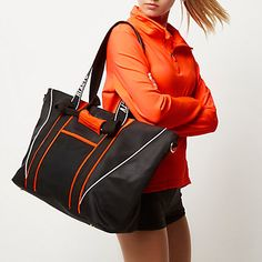 Checkout this RI Active Black neon trim gym tote bag from River Island