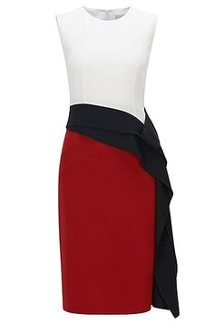 A chic, ready-to-wear evening dress in a timeless shift style by BOSS Womenswear.   The design showcases a season-ready colourblock structure, back vent and neat hidden zip. This elegant option is embellished with a draped, waterfall ribbon from the waist to side hem for feminine flair.   Easy to style up or down, couple this design with patent flats for modern polish.