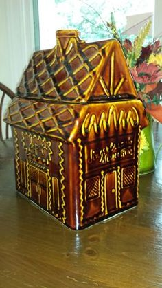 """Rare Hull Gingerbread House Cookie Jar  Magnificent Collectable that is also practical for Holiday treats.  Perfect for the Holidays or as a Holiday Gift  No mars or cracks.  9"""" L x 7"""" W x 12 """" H"""