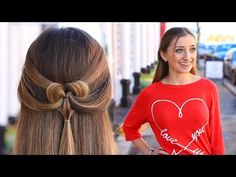 How to Create a Pancaked Heart Half-Up Hairstyle | Valentine's Day Hairstyles - YouTube