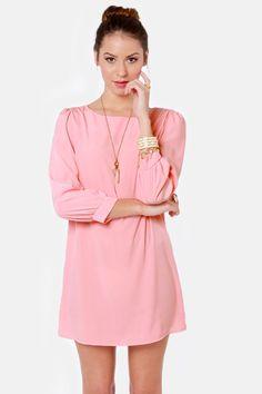Pretty Peach Dress - Shift Dress - Dress with Sleeves - $38.00
