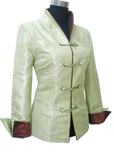 Charming Chinese Women's Silk Jacket Coat Green Sz M L XL XXL XXXL | eBay