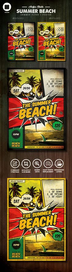 The Summer Beach Comic Flyer - Clubs & Parties Events