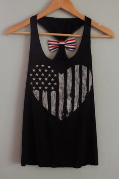 Black American Flag Heart Tank Top with Red, White, and Blue Striped Bow