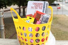 Game Time Raffle Basket -- Checkers, Chess, and Tic Tac Toe, Double 6 Dominoes, UNO, playing cards, Spongebob Crazy 8's and Rummy, Barbie Gems and Go Bling