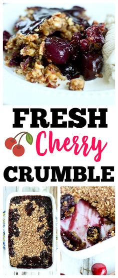 Fresh Cherry Crumble Recipe | summer dessert | fruit dessert | cherry desserts | healthy desserts | quick and easy desserts