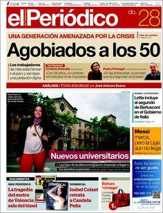 Los Titulares y Portadas de Noticias Destacadas Españolas del 28 de Abril de 2013 del Diario El Periódico ¿Que le parecio esta Portada de este Diario Español?