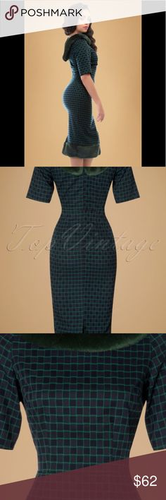 Collectif check pencil dress w/ faux fur XL size16 Feel like a true Hollywood star with this glamorous dress! The beautifully fitted top features a boat neck, 1/2 sleeves and a dark green high quality, super soft ''faux'' fur trim along the neckline (detachable!). The fitted skirt is finished off with dark green ''faux'' fur for a fabulous look and enhances your curves without marking any problem areas, oh la la. Made from a soft dark blue fabric (doesn't stretch!) with a classy check…