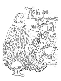 Joseph's Coat of Many Colors coloring page 8.5X11, Bible journaling tip-in 6X8