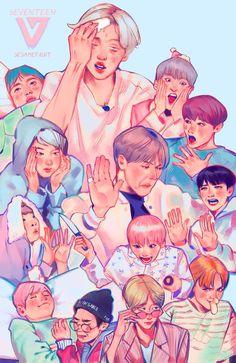 Seventeen Memes, Seventeen Debut, Carat Seventeen, Woozi, Wonwoo, Jeonghan, K Pop, Seventeen Wallpapers, Bts Chibi