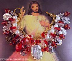Catholic Divine Mercy, Saints Religious Medals Handrafted Charm Bracelet www.letyscreations.com