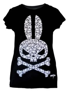 THE SCOOP: Our custom made tee features our signature Skull Bunny made up of tiny skull bunny bones, each one carefully placed to form the shape of the bunny skull & cross bones. This task was a feat