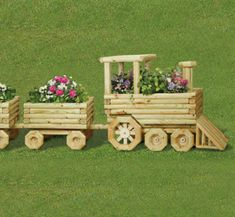 All Yard & Garden Projects - Landscape Timber Train and Car Plan Set Landscape Timber Crafts, Landscape Timbers, Wooden Planters, Planter Boxes, Garden Crafts, Garden Projects, Outdoor Wood Projects, Wooden Train, Flower Boxes
