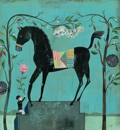 Olaf Hajek - Here is something I thought AK would like. It includes two of her favorite things: the color blue & a horse:)