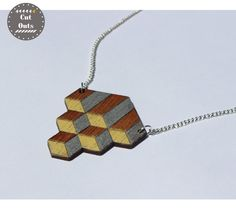 Geometric diamond necklace by CutOutsProductDesign on Etsy